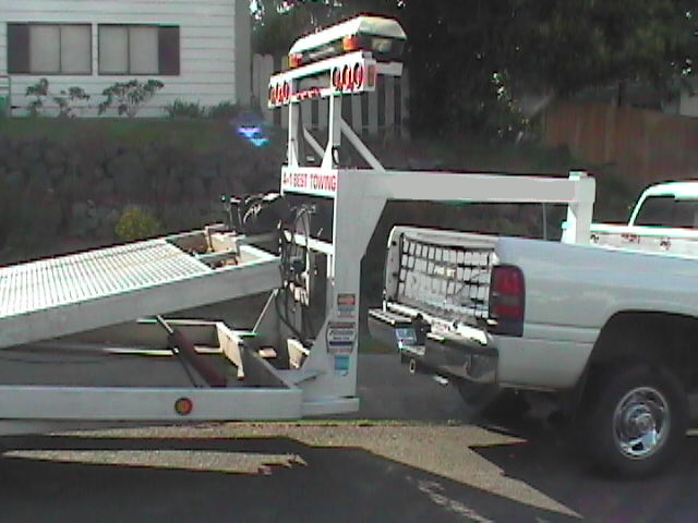 car trailer in the tilted position