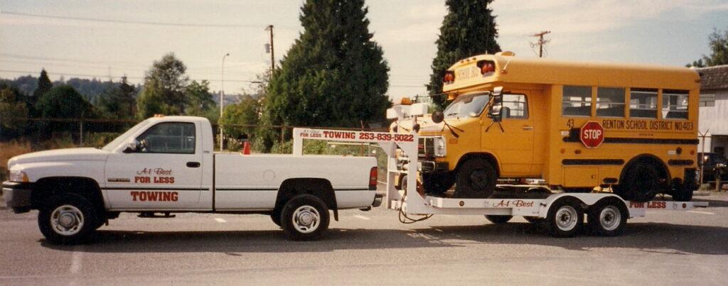 trailer towing school bus