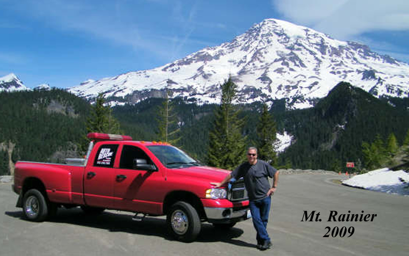 mt. rainier and tow truck