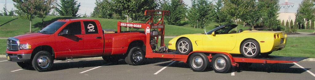 Dodge Ram towing corvette